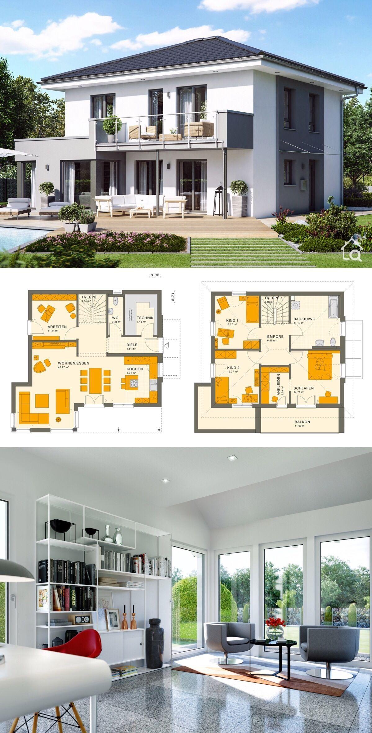 Fertighaus Stadtvilla modern mit Walmdach & Putz Fassade