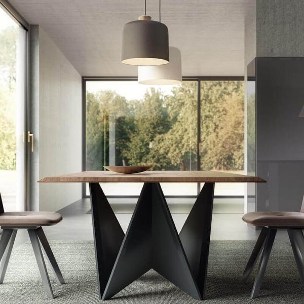 Table Design Italien Rectangulaire Plateau Bois Pied Central Original Origami 4 Pieds Com Table Design Bois Table Design Table Design Extensible