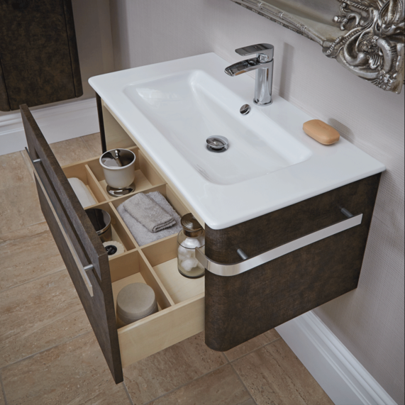 Linen 800 Basin And Wall Mounted Unit Grey Bathstore