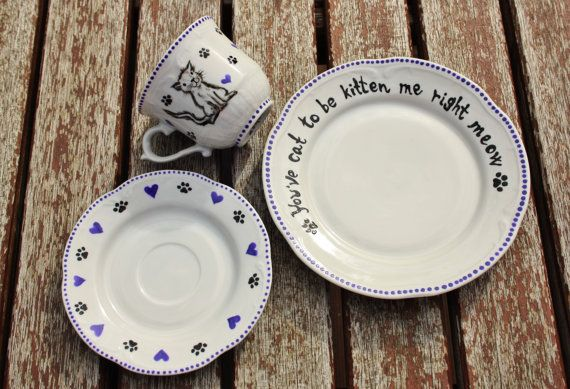 SALE! Kitty cat set with cup, saucer and plate! tea coffe china porcelain hearts paws animal cat lover I love cats