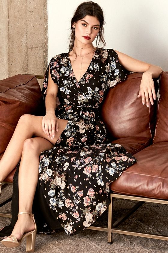 9f3bed3869 Spend your days wrapped up in the chic-as-can-be Divine Days Black Floral  Print Wrap Maxi Dress! Blue, blush, green, and red floral print  intermingles with ...