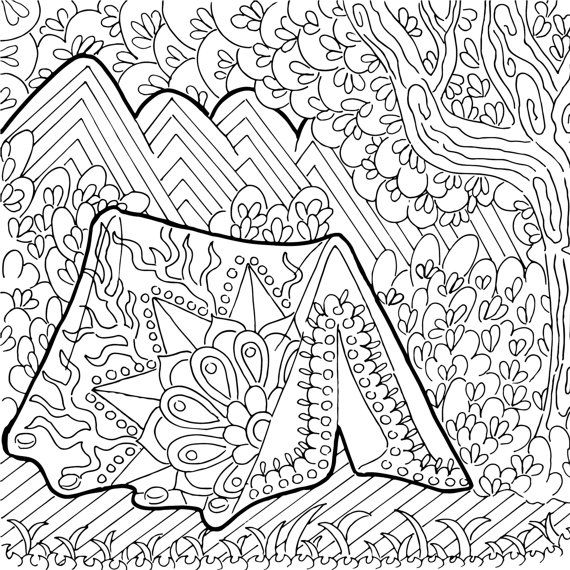 Printable Coloring Page Zentangle Camping Coloring Book Etsy Camping Coloring Pages Coloring Pages Easy Coloring Pages