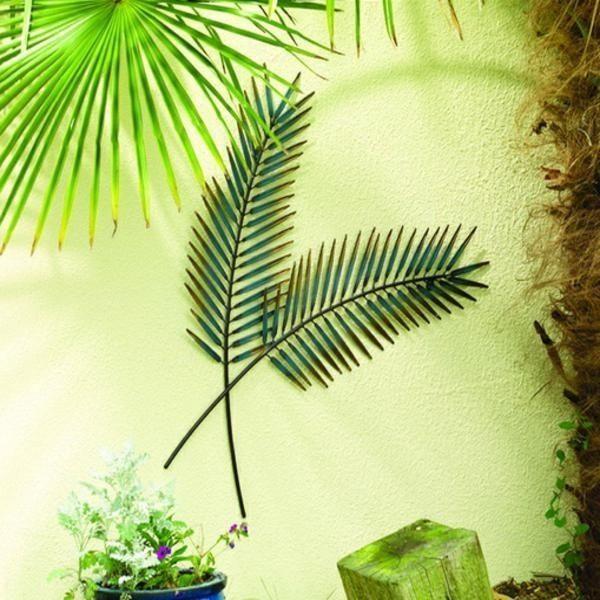 Luxury 80cm Palm Leaf Outdoor Weatherproof Garden & Patio Wall Art ...