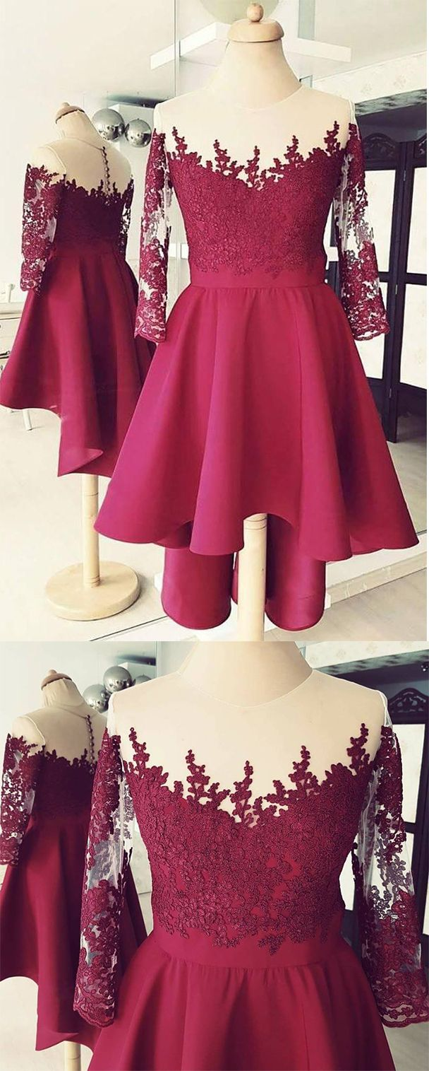 Burgundy homecoming dresseshigh low homecoming dressshort prom