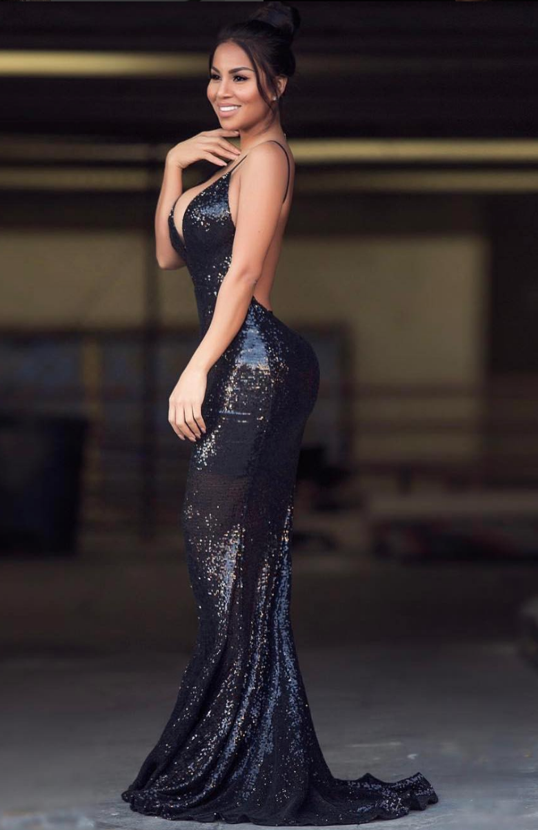 The Jilah Backless Sequin Evening Dressevening Gown Formal Dress