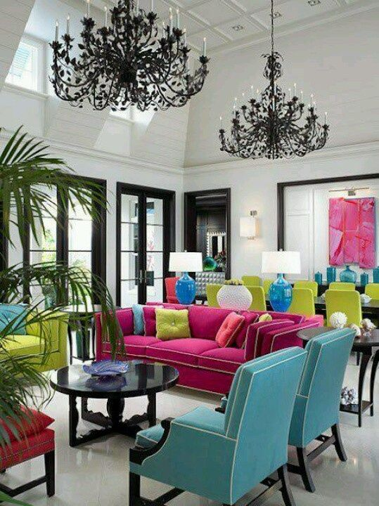 Pink And Green Living Rooms | Pink, Green And Blue Living/dining Room
