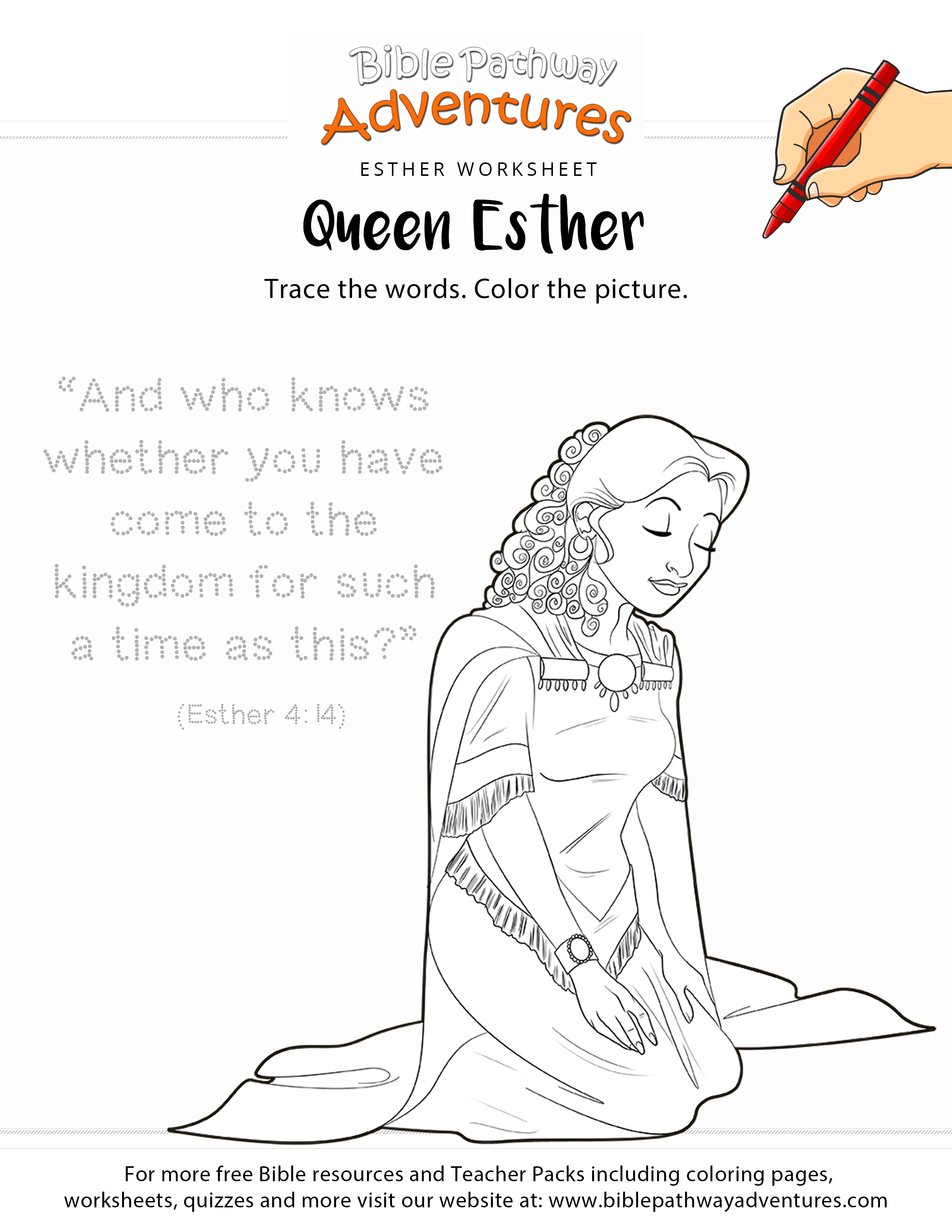 Esther copywork and coloring page | Esther bible, Bible activities ...