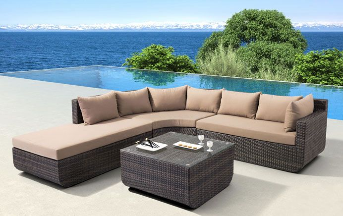Enjoy the outdoors while relaxing on the Captiva Sectional ... on Living Accents Cortland Patio Set id=17012