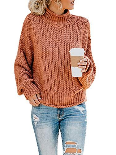 Ashuai Womens Turtleneck Sweaters Oversized Chunky
