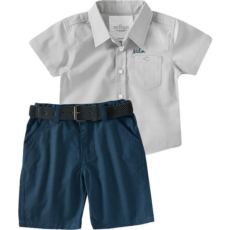 a63c7095980439 Conjunto Infantil Masculino de Camisa e Bermuda Marinho - Milon ...