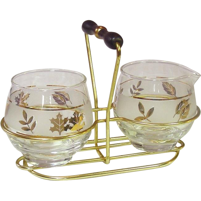 Libbey Glass ~ Creamer and Sugar in Wire Holder ~ Golden Foliage ...
