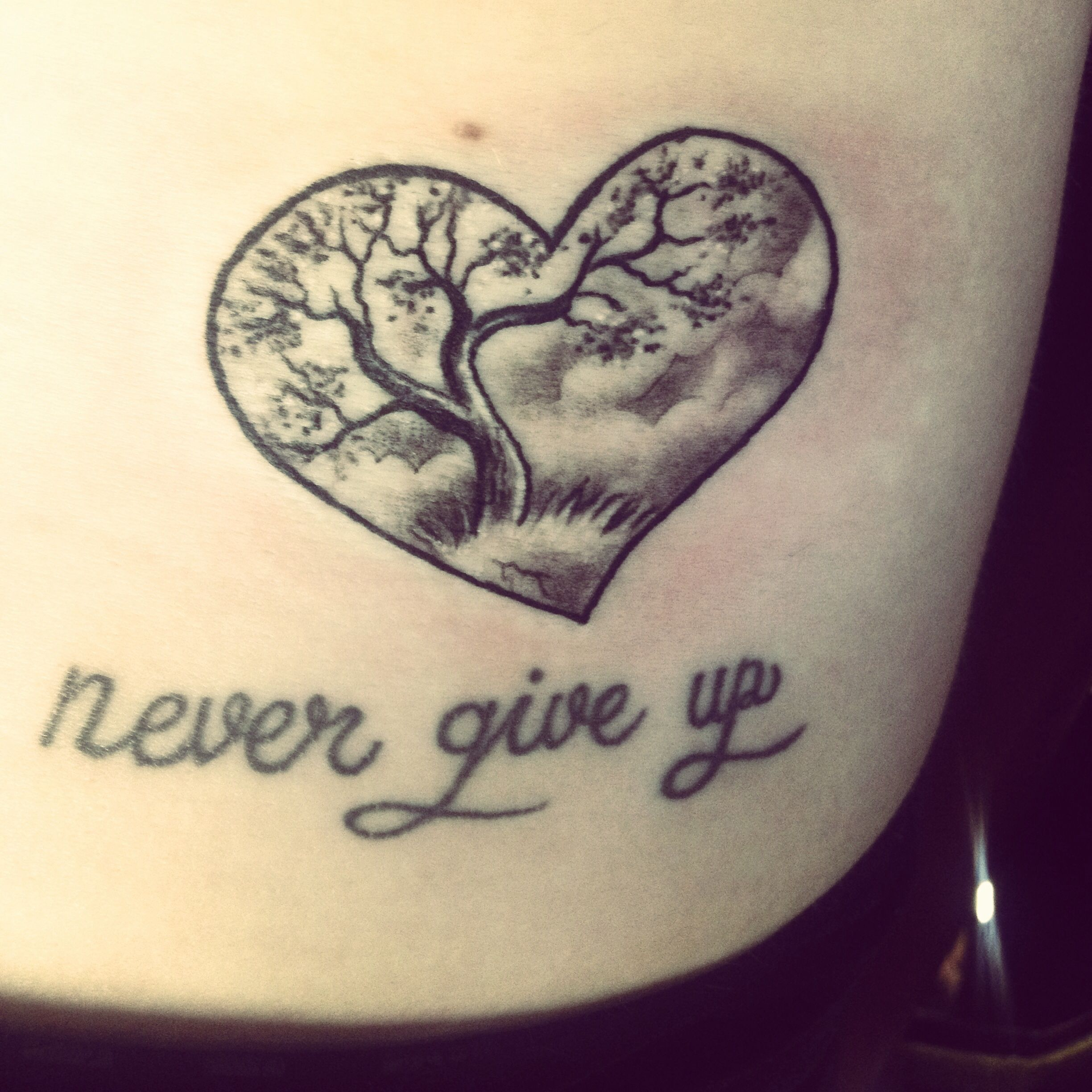 """Tree Of Life Tattoo. """"Never Give Up"""" In Memory Of My"""