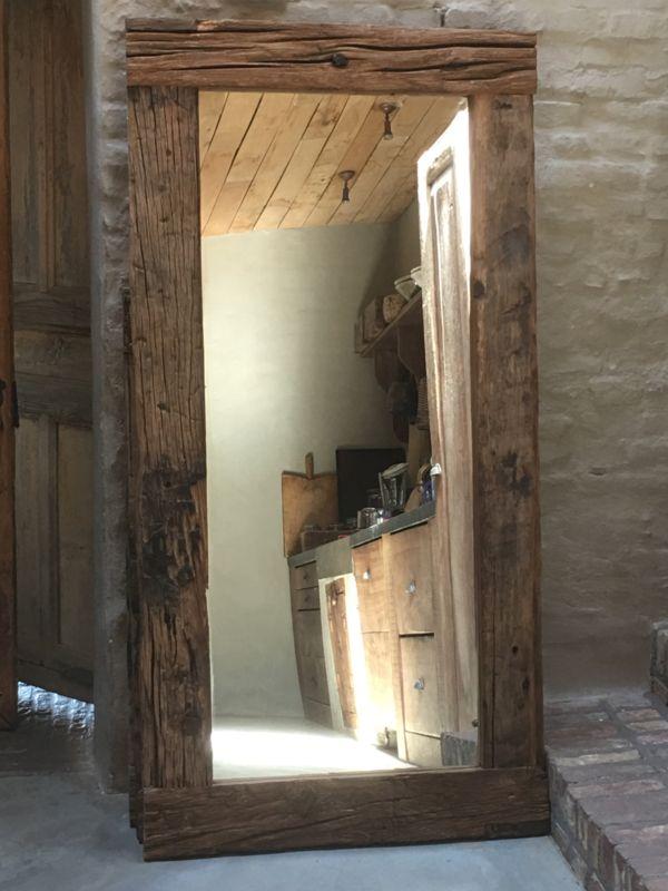 Stoere grove robuust houten sloophouten spiegel landelijk for Houten spiegel