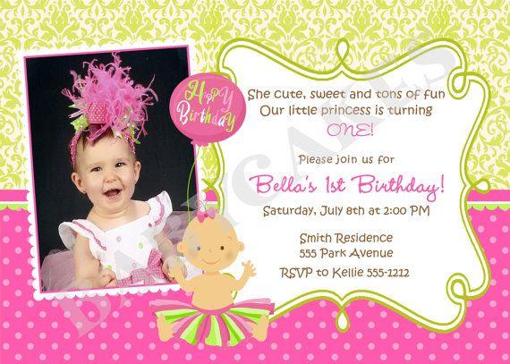 1st Birthday Invitation Tutu Princess Cupcake