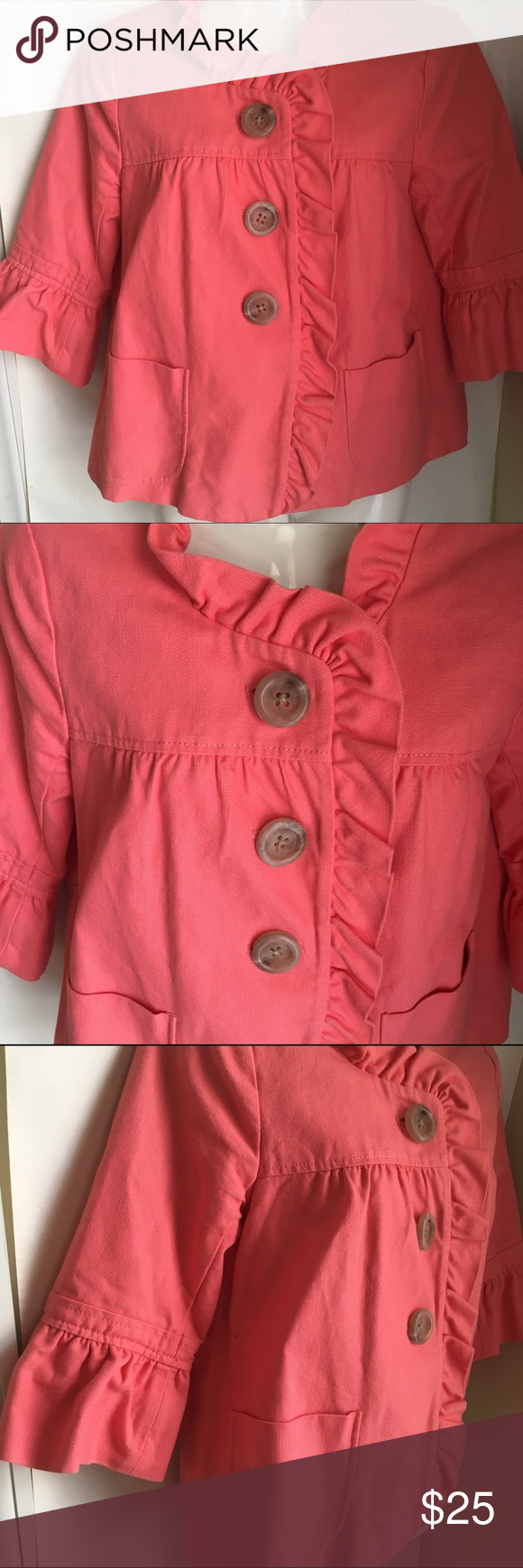 J Crew Ruffle Blazer 4 S pink peach button 3/4 slv Adorable bright pink/peach Ruffle Blazer in heavy weight cotton. 3/4 sleeves. Ruffle collar & sleeves. Very good preowned condition! Smoke free, pet free home. J. Crew Jackets & Coats Blazers