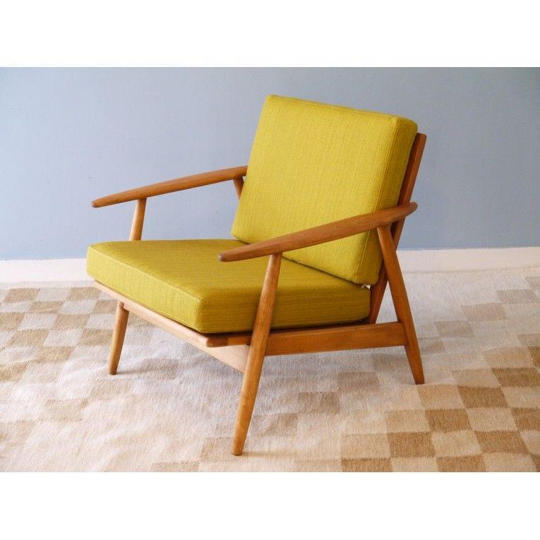 Fauteuil Design Vintage Danois Jaune La Maison Retro Deco - Fauteuil design moutarde