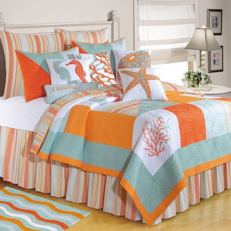 Teal Orange Nautical Bedroom Decor with Multi Colors Beach Bedding