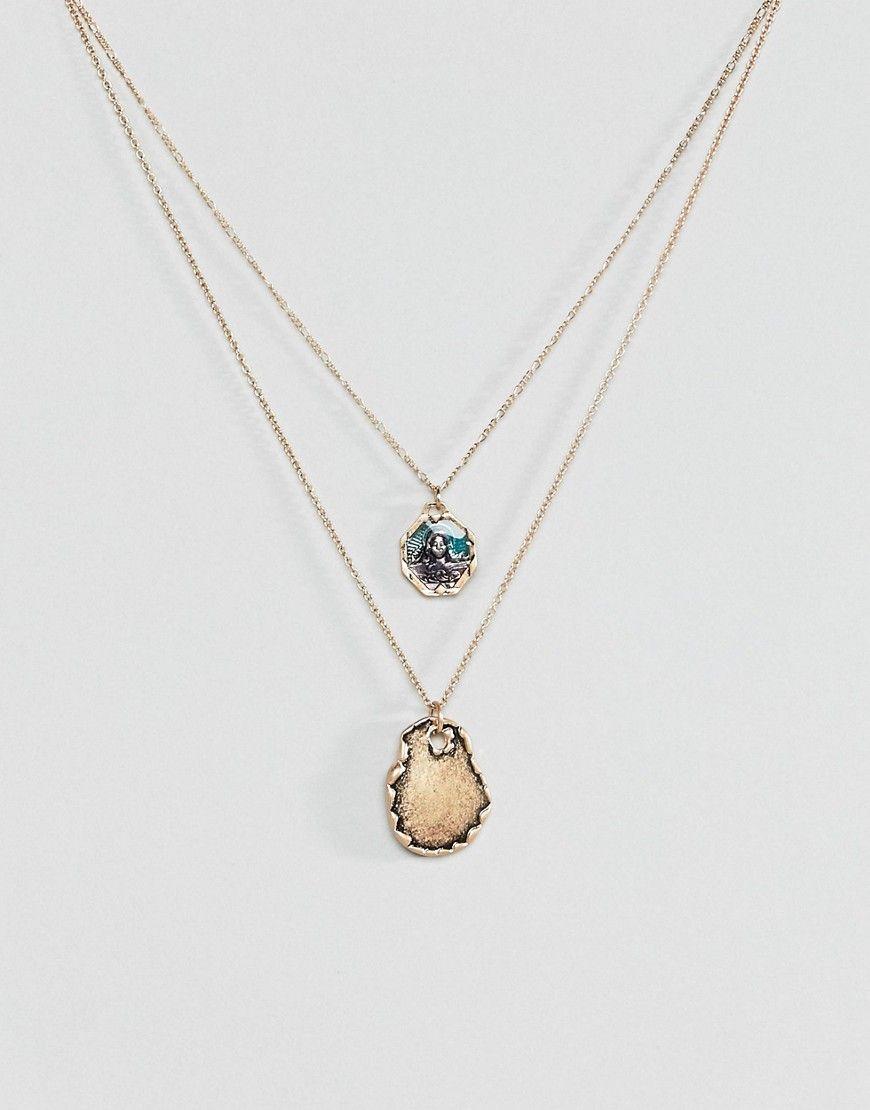 Asos Mehrreihige Halskette Mit Vintage Engel Und Geschmolzener