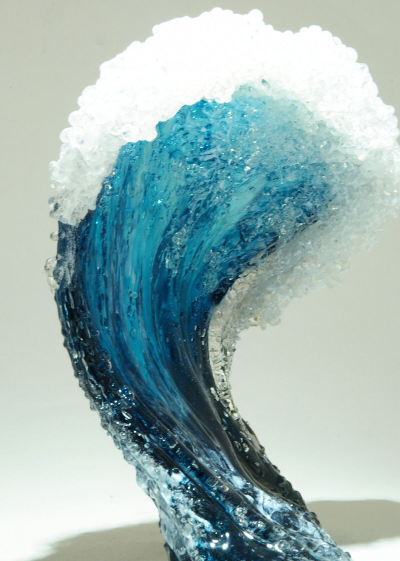 Hyper Realistic Ocean Wave Vases Style Glass Art