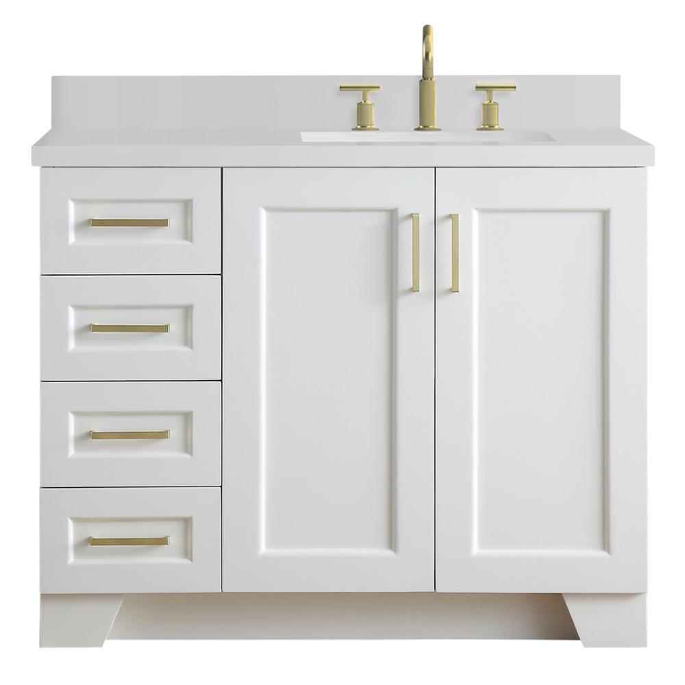 Ariel Taylor 43 In W X 22 In D Bath Vanity In White With Quartz Vanity Top In White With Right O Quartz Vanity Tops Bathroom Sink Vanity Bathroom Vanity Tops [ 1000 x 1000 Pixel ]