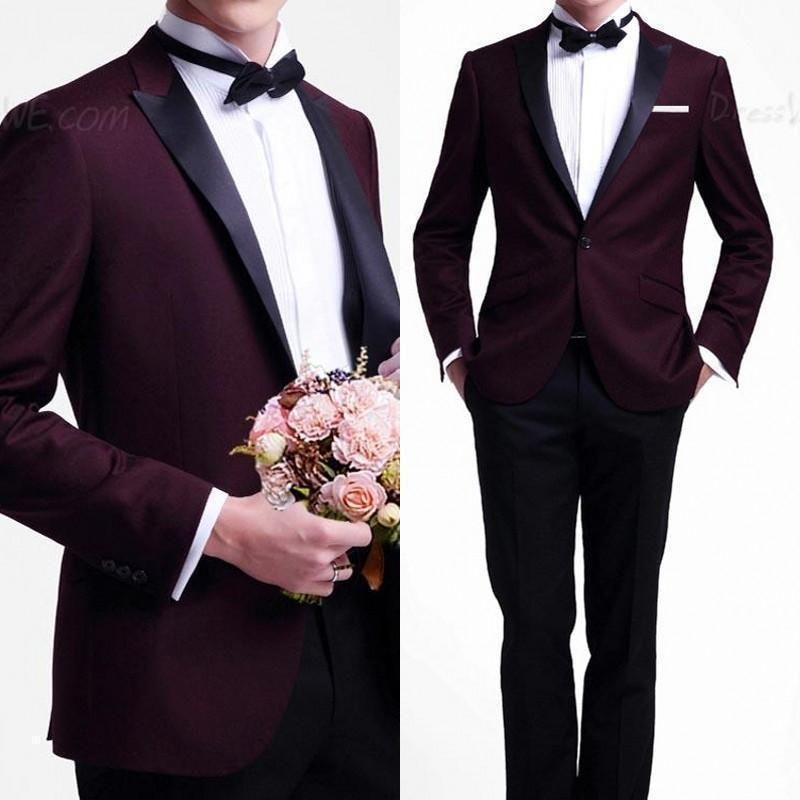 Burgundy Jacket Black Pants Mens Wedding Suits Groomsman Tuxedo 2