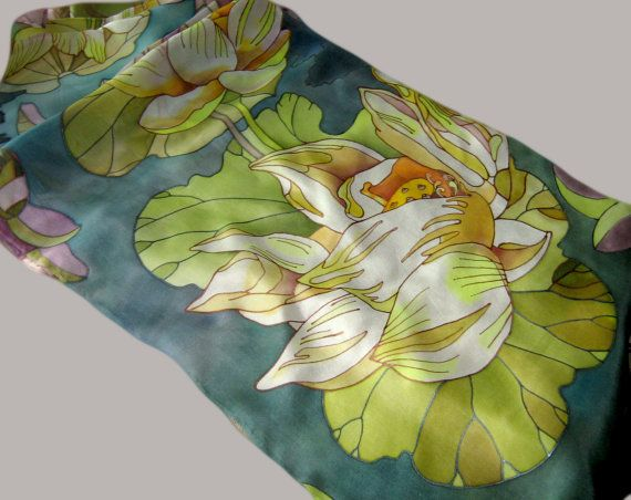 silk Scarf lotus hand-painted by the author's от FancySilk ...