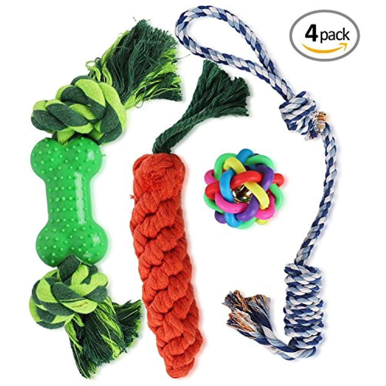 Wot I Dog Rope Toys Dog Chew Toys Set Of 4 Durable Cotton Dog