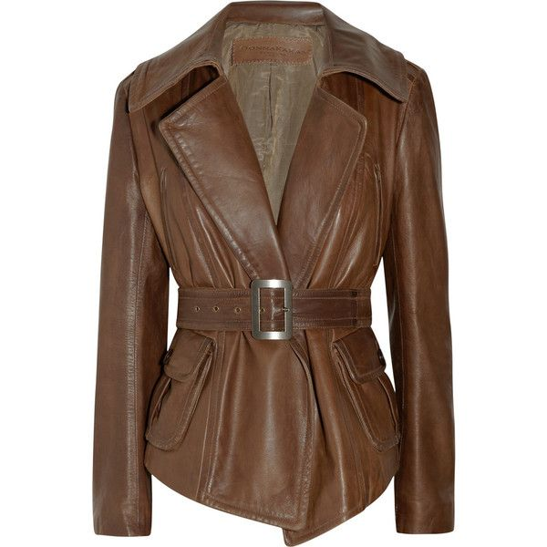 Donna Karan Belted leather jacket (£1,180) found on Polyvore featuring  women s fashion, 320d2f09e0