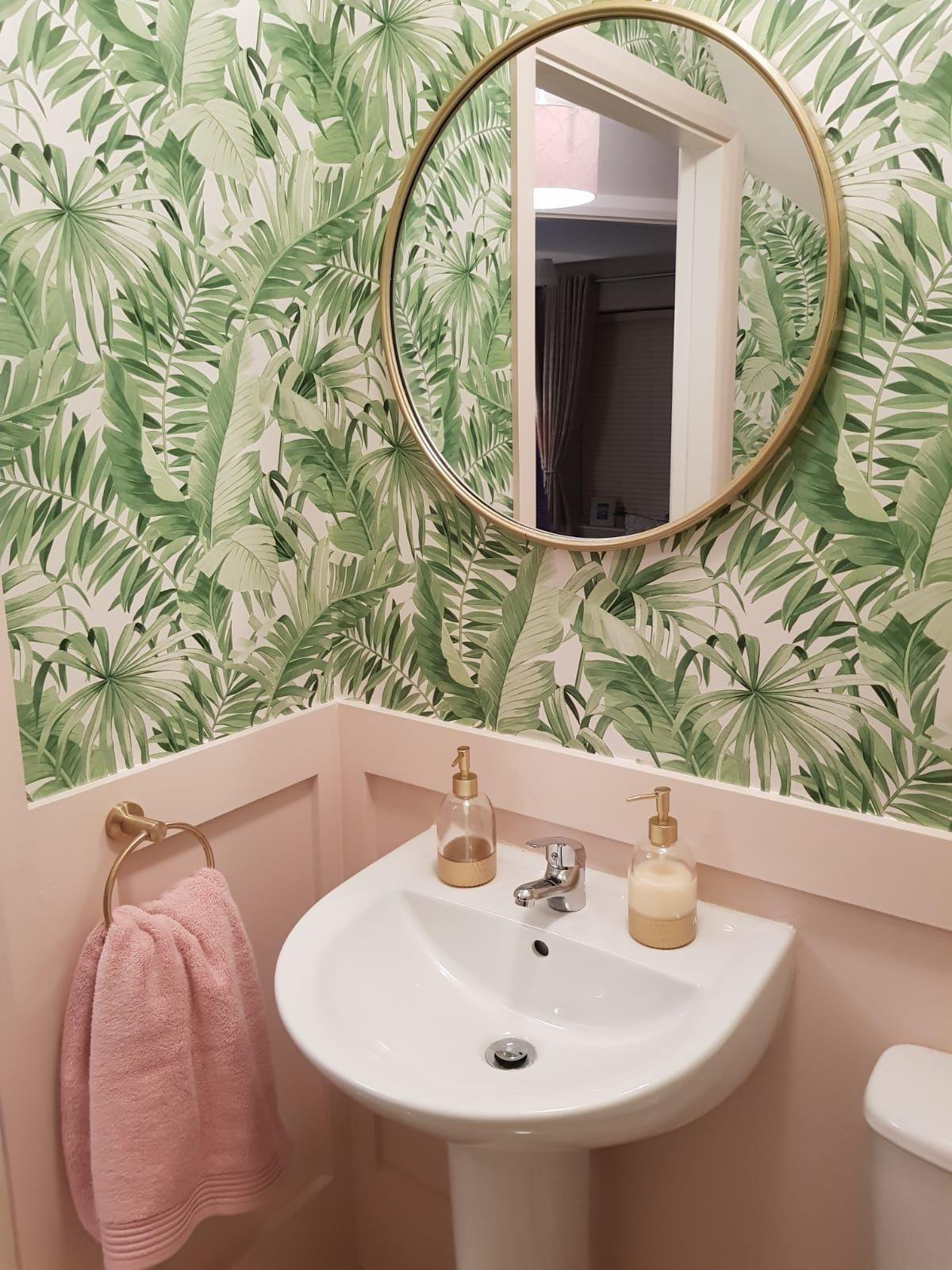 Pink And Green Downstairs Bathroom Downstairstoilet Tropical Leaf Print Wallpap Bathroom Downsta Small Toilet Room Retro Pink Bathroom Downstairs Bathroom