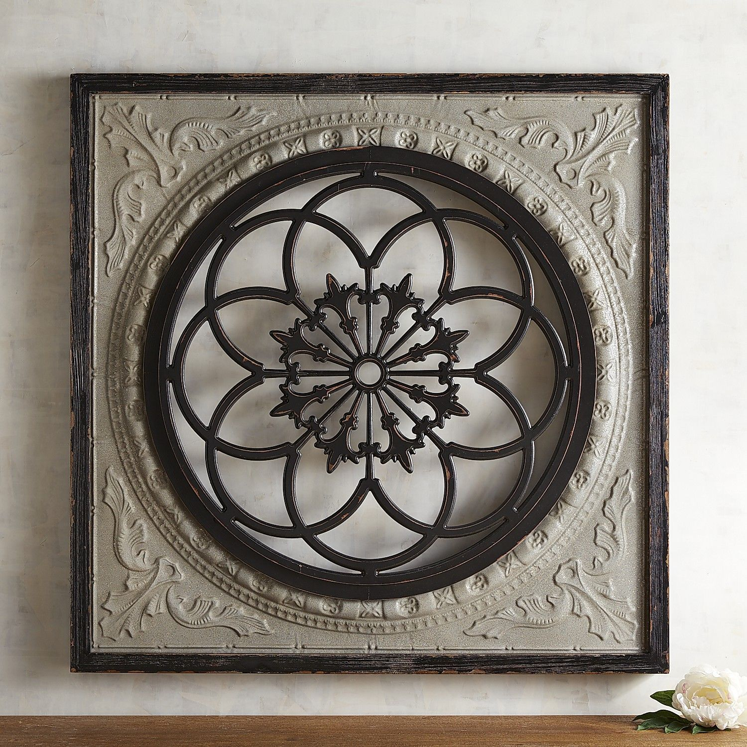 walls medallion pin a statement galvanized piece shape rustic hand painted its of decor both is mix and fir our iconic wall iron square whitewashed sophistication imparts