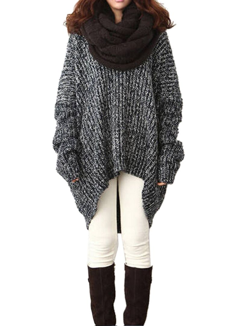 Love Oversized Sweaters! Oversized Gray V Neck Marled High-low ...