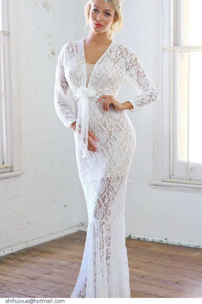 SKO European And American Prom Dress V-neck Long-sleeved Autumn Hollow Lace Hook Spent Double Package Hip Dress, $57.37 | DHgate.com