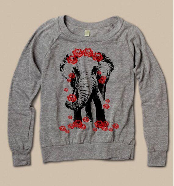 8351689e2c898 NEW ELEPHANT with roses Headdress Screen Print Top Long Sleeve American  Alternative Apparel S M L XL more Colors Women