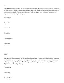 To Kill A Mockingbird Prediction Sheet Student Encouragement To Kill A Mockingbird Predictions