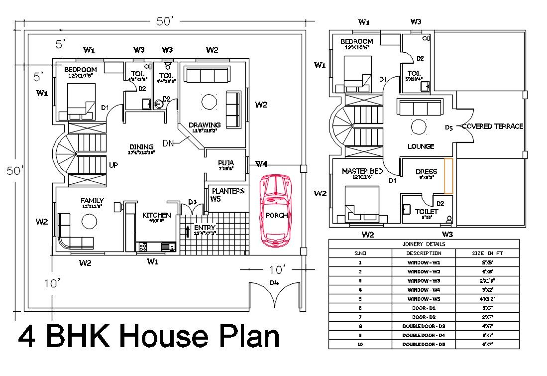 50x50 House Plans Autocad Drawing Dwg File 2500 Square Feet House Plans How To Plan Square Feet