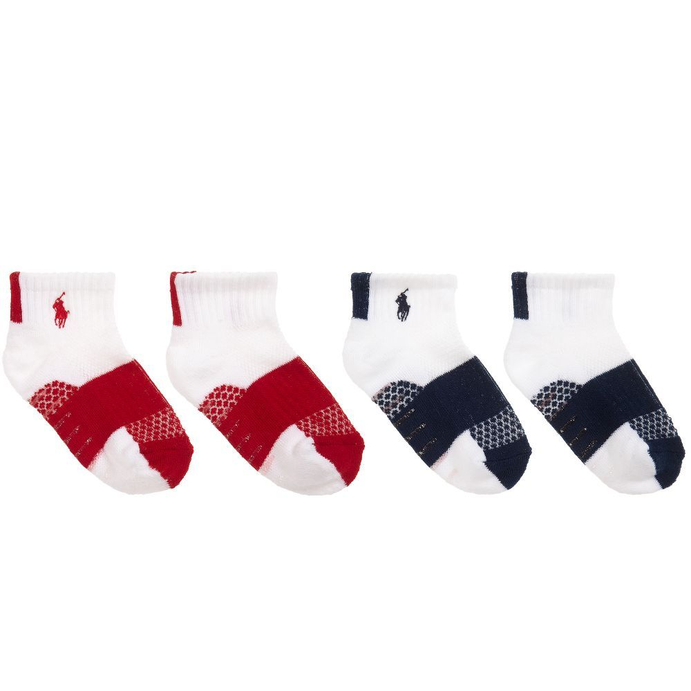 big sale 2a00c 458de Boys pack of two short socks from Polo Ralph Lauren. Soft and stretchy,  with red and navy blue trims and logo embroidery at the ankle.