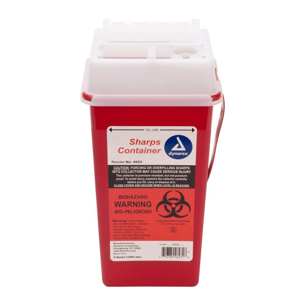Dynarex Medical Grade 2 Quart Sharps Container Sanitary