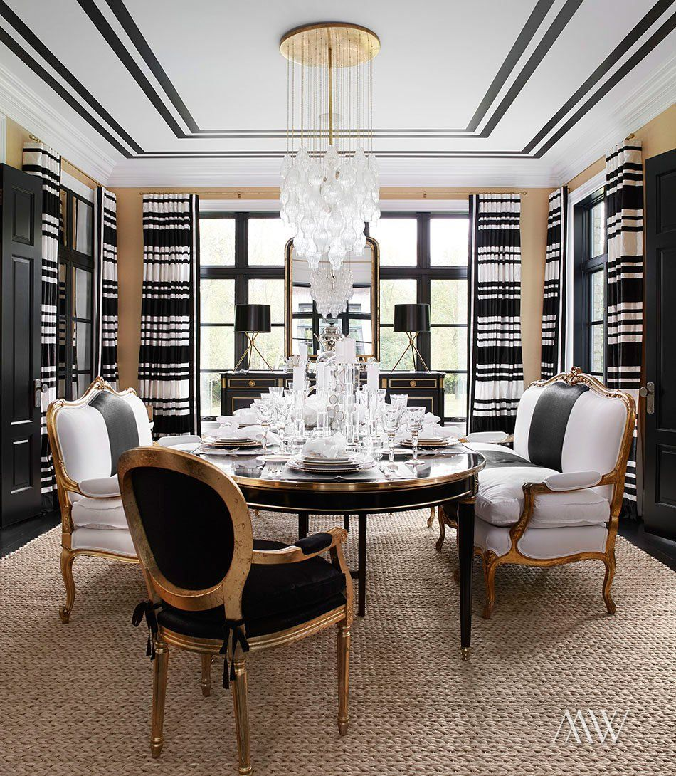 Casual Dining Rooms Decorating Ideas For A Soothing Interior: Black, White Dining Room, Luxury