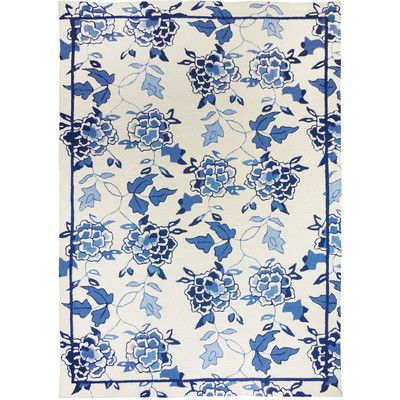 Homefires Floral Repeat White/Blue Area Rug Rug Size: 8' x 10'