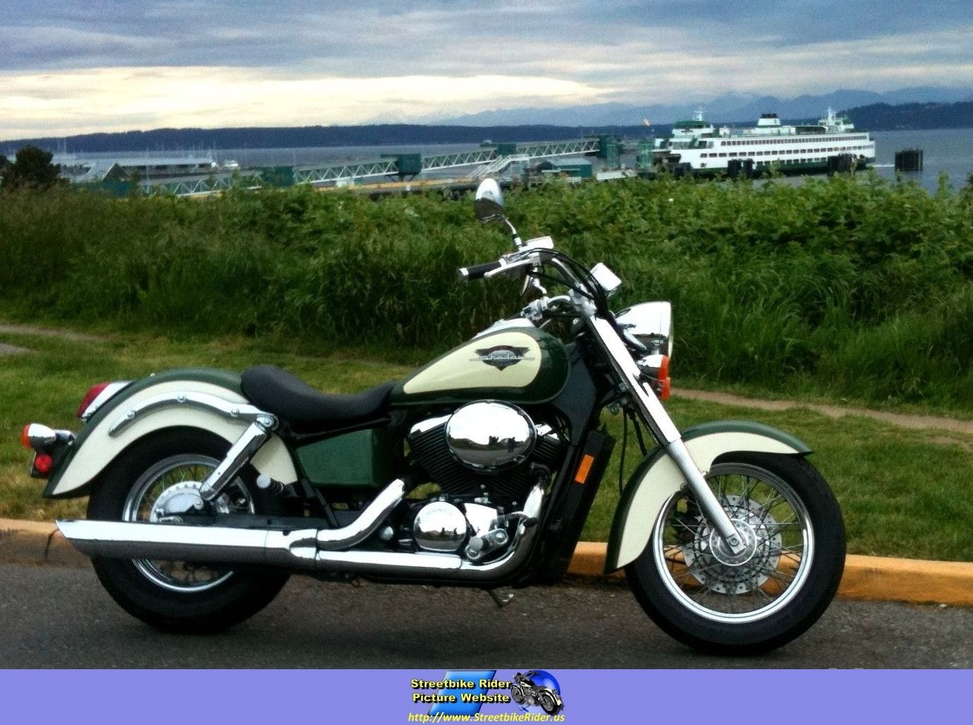 1999 Honda Shadow 750 Ace green. Another view of my favorite bike.