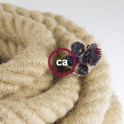 Electrische 3XL touwkabel,3 x 0,75 mm. binnenkabels bedekt met textiel en jute…
