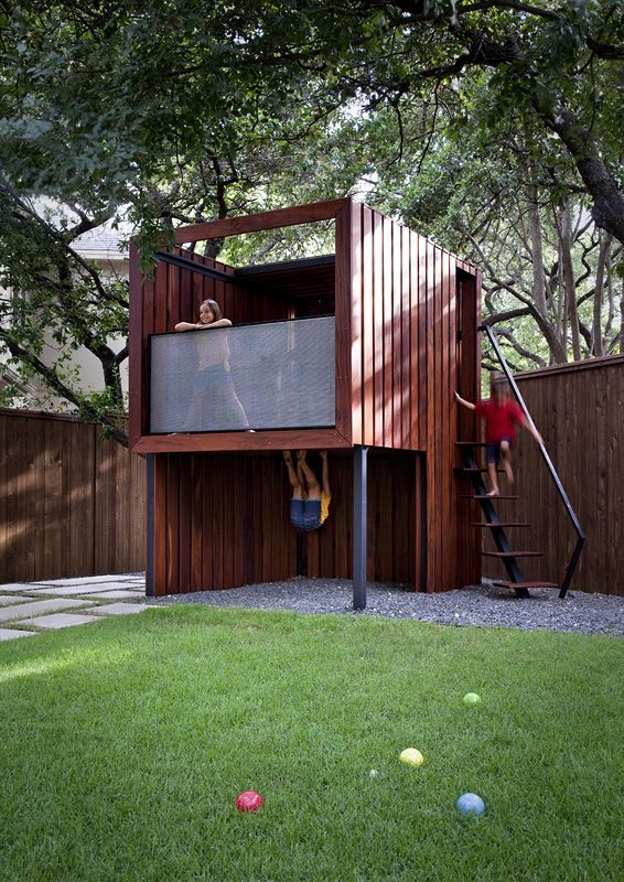 Contemporary play house live eat relax and play in the back yard - modern -  kids - austin - by austin outdoor design