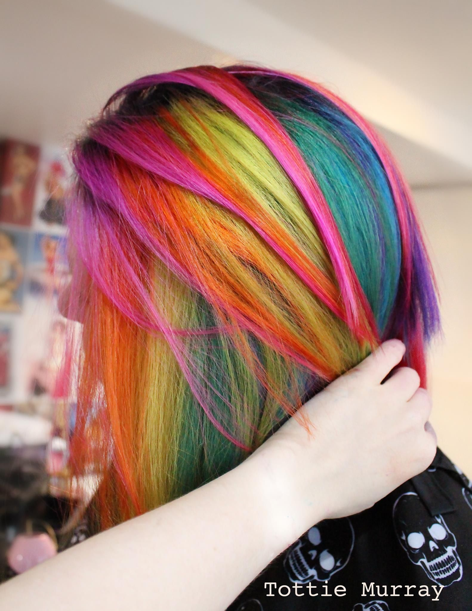 Rainbow Pink Hair Orange Yellow Green Blue Pink Red Straight Hair