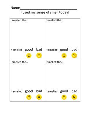 Pin On Preschool 2015 Homeschool Sense of smell worksheets