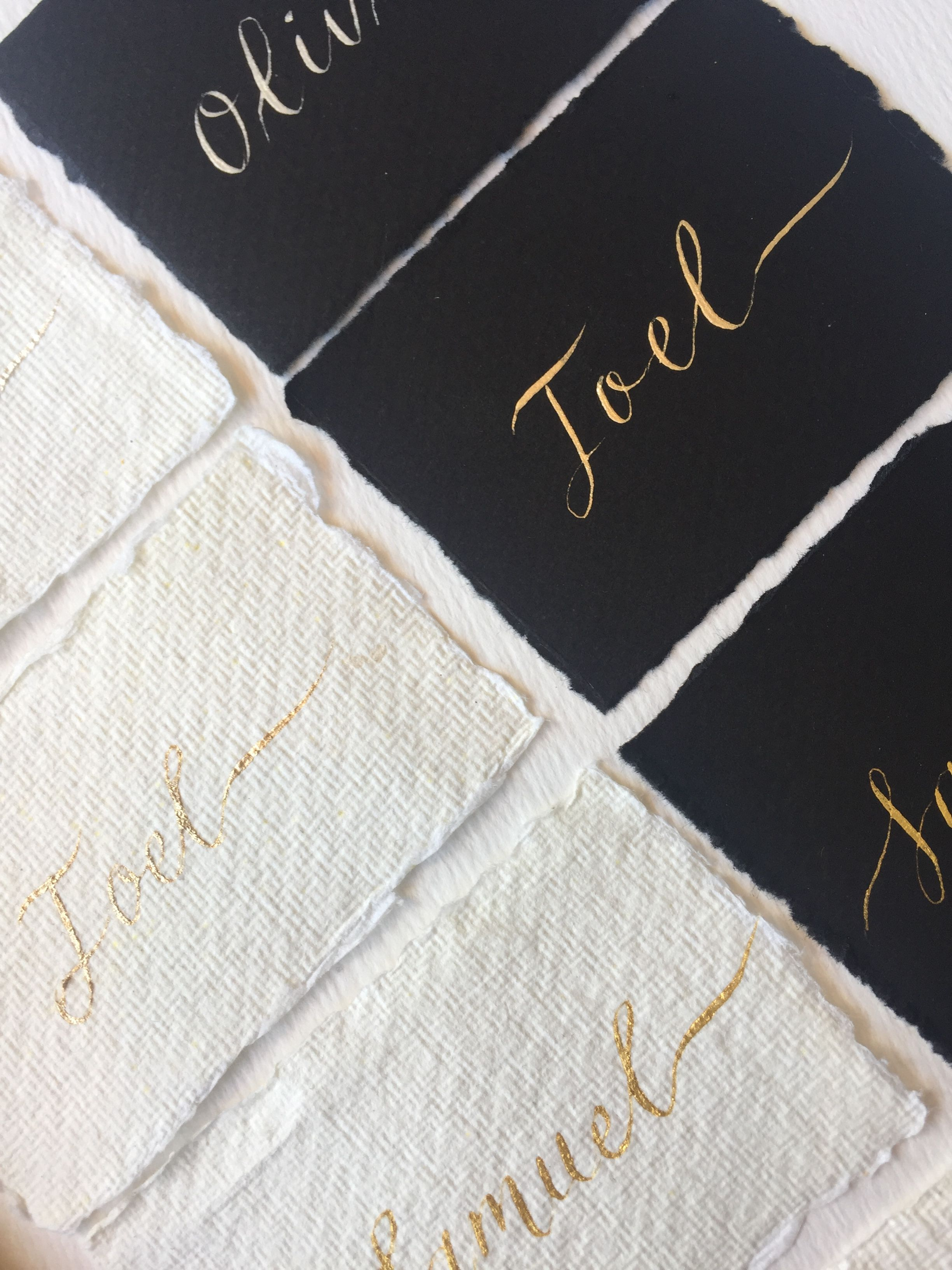 Black and white place cards with gold calligraphy | Red, Black and ...