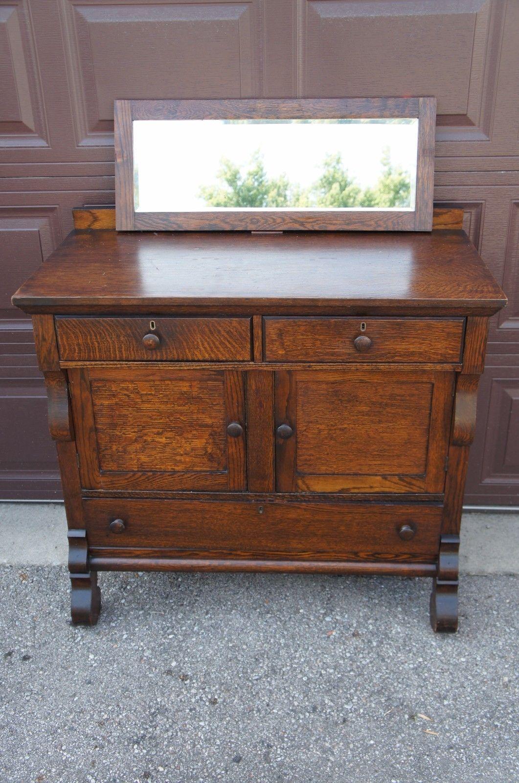 Antique arts and crafts furniture - Antique Arts Crafts Tiger Oak Mirror Top Buffet Sideboard Server Cabinet Dry Bar Ebay
