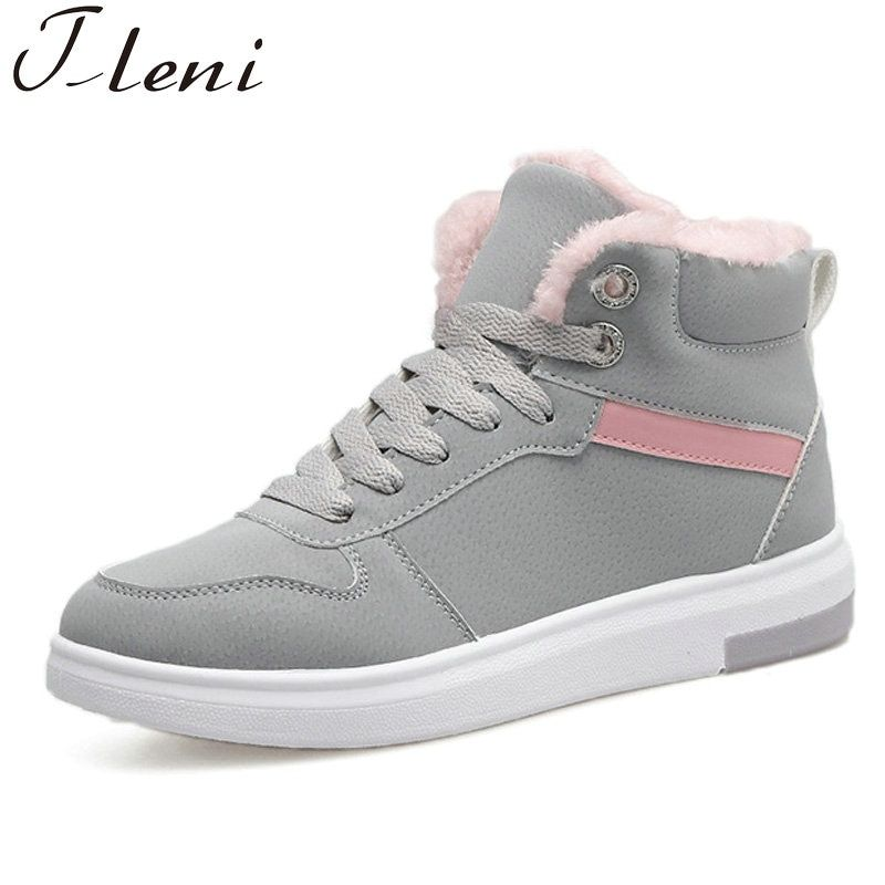 Tleni 2018 New Outdoor Top Sneakers Lace-up High Style Sports Boots Running  Shoes Women Furry Winter Running Sneakers Grey ZF-20 49d6e7e8bebc