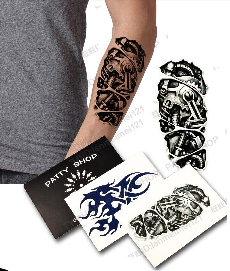 1lot 1pcs Totem Shoulder 1pcs 3d Machine Arm Big Temporary Tattoo Stickers Waterproof For Men Free Shipping Body Art Tattoos Tattoo Stickers