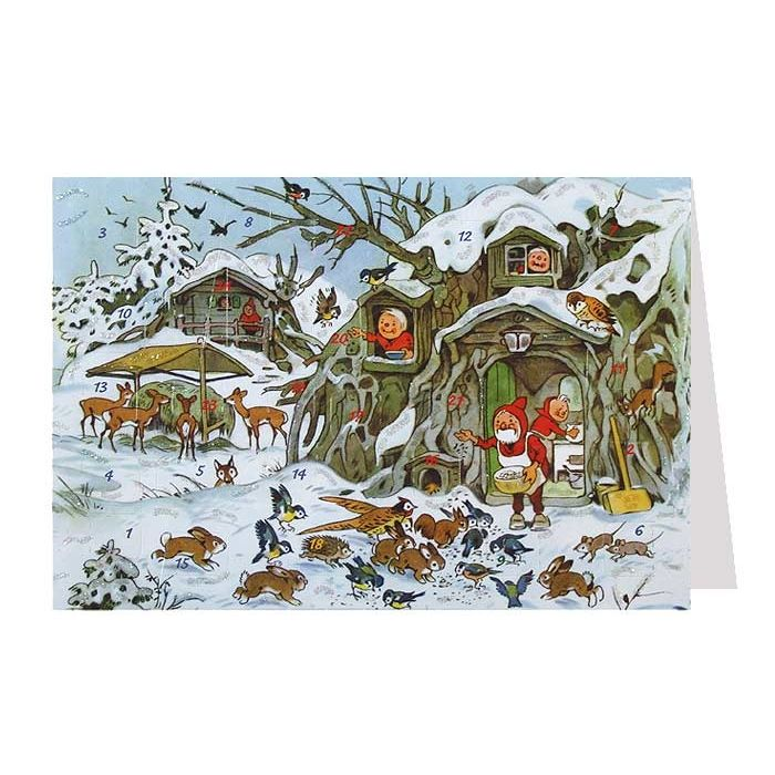 gnomes feeding the animals advent calendar