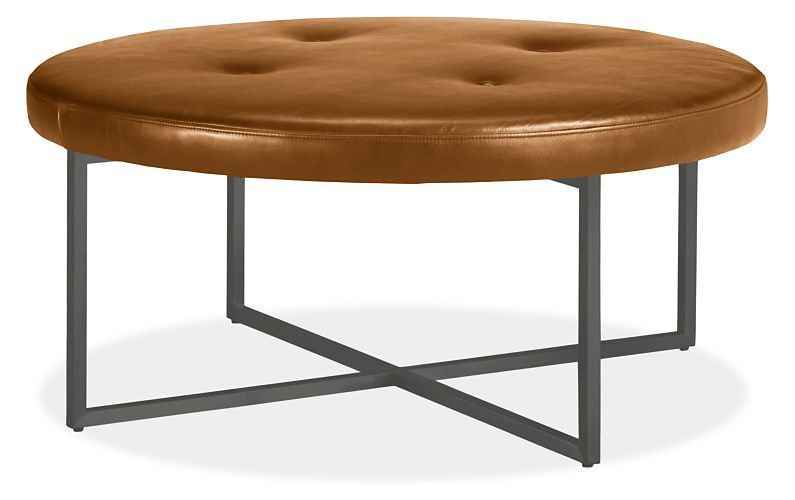 Sidney Leather Round Ottomans Modern Benches Stools Ottomans Modern Living Room Furniture Room Board Round Ottoman Modern Furniture Living Room Round Leather Ottoman